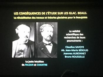 Les 2 savants qui eurent l'intuition de la présence il y a très longtemps de glaciers en Beaujolais.